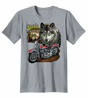 Legends Never Die Wolf Animal Spirit Motorcycle Biker Long Sleeve T-Shirt