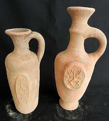 2 pcs. Biblical Antique Jugs Holy Land Jerusalem Clay Pottery Menorah David Star 3