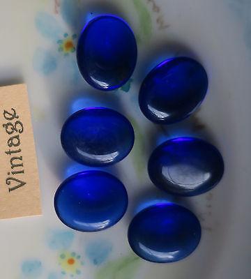 Vintage Glass Cabochons Bermuda Blue Ribbed 10x14mm Oval NOS Flat Bottom #158B