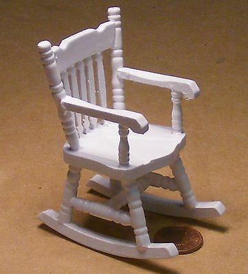 3 Of 5 1 12 Scale White Painted Wooden Rocking Chair Dolls House Miniature Furniture