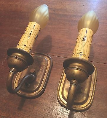 Brass Sconces Vintage Antique Wired Matched Pair 2