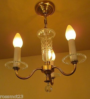 Vintage Lighting circa 1950 foyer or bedroom chandelier by Framburg 2