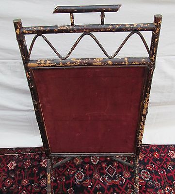Beautiful Victorian Bamboo Antique Firescreen With Floral Glass Bead Work 5