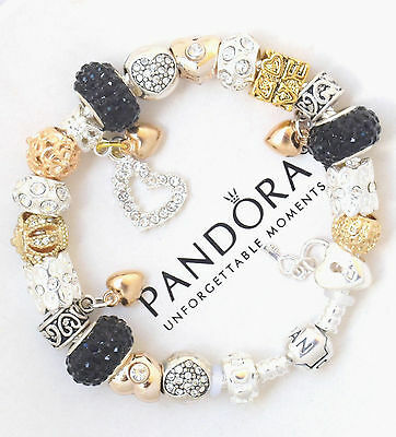 Authentic Pandora Charm Bracelet Silver with Black Gold Hearts European Charms 3