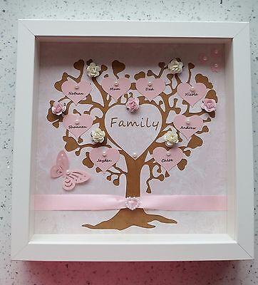 3 Of 7 Personalised Family Tree Box Photo Frame Birthday Gift Christmas Mum Nanny