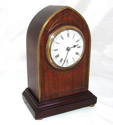 Antique Brass Inlaid Mahogany Miniature Bracket Mantel Clock CLEANED & SERVICED 2