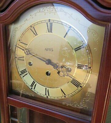 Attractive 8-Day AMS Westminster Chime Wall Clock in Mahogany Case 341/202 2