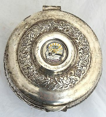 Vintage Arabian Military Silver Plated Box Coat of Arms Soldier Army Islamic 9