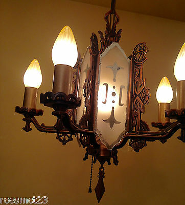 Vintage Lighting incredible 1930s coppery mirrored chandelier 3