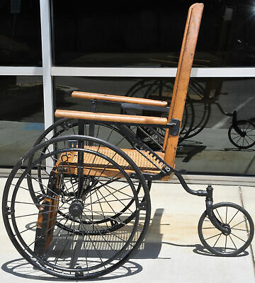 Antique Cane Back Wheelchair Oak Metal Three Wheel Chair Old 520 C Adjustable 5