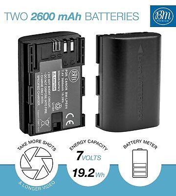 BM 2 LP-E6N Batteries & Dual Charger for Canon EOS-R 60D, 70D EOS 80D C700 XC15 2