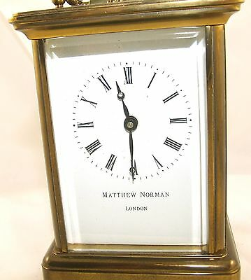 MATTHEW NORMAN LONDON SWISS MADE Brass Carriage Clock with Key : Working (49) 4