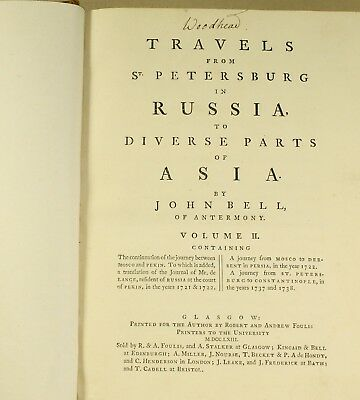 Bell Travels St Petersburg Russia To Asia 1763 1st ed. Beautiful Period Binding 11