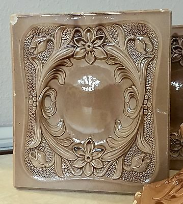Antique Italian Glazed Brick Tile Fireplace Mantle, Fireplace Tiles Set Of 6 7