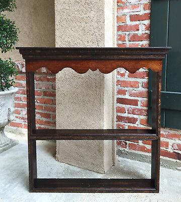 Antique English Carved Tiger Oak Plate Platter Wall Rack Display Shelf Kitchen 3