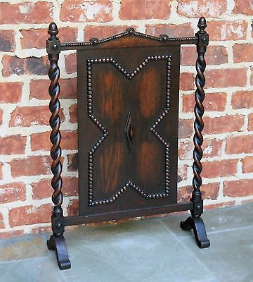 Antique English Dark Oak Jacobean Barley Twist  Hearth Fireplace Screen 2