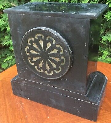antique Marble Slate Mantel Mantle Clock French Paris Love 8
