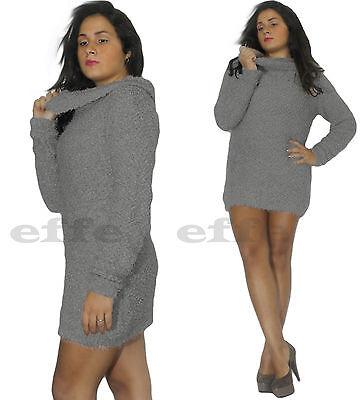 ... Maglione donna maglia maxipull pullover lana mini abito collo alto  nuovo 4 5c540a15e33