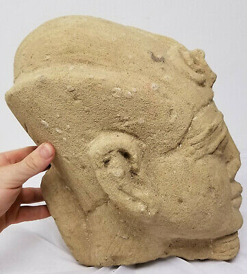 Antique Egyptian Style Carved Pharoah Head Sandstone Ancient Alien Antiquity 6