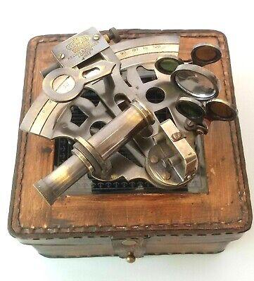 Vintage Maritime Brass Nautical Sextant Leather Case Kelvin Hughes London 1917 10