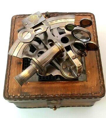 Vintage Maritime Brass Nautical Sextant Leather Case Kelvin Hughes London 1917 2