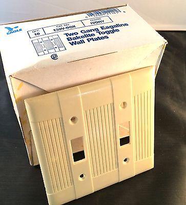 BULK Box of 10 Two Gang Eagle Bakelite Toggle Ivory Wall Plates 139V-Box Vintage 9