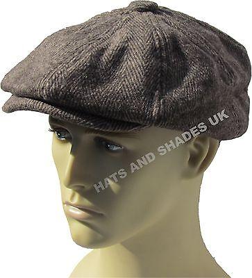 fa9421bc ... Peaky Blinders Tweed Newsboy Hat herringbone Gatsby Cap Flat 8 Panel  Baker Boy 3