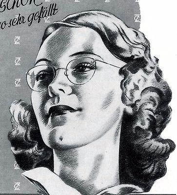 Zeis Punktal Perivist Brille Reklame 1940 Brillenträgerin Werbung Augenglas +