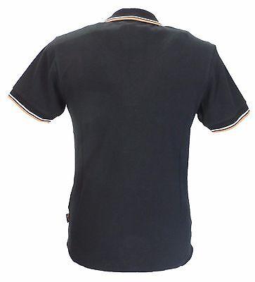 Trojan Records Black Classic Retro Stripe Rib Polo Shirt 3