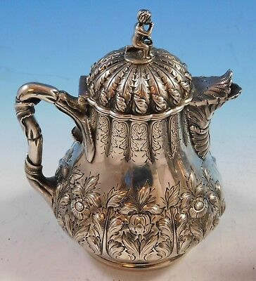 George Sharp Sterling Silver Tea Set 4pc with 3-D Cast Japanese Finials (#2264)