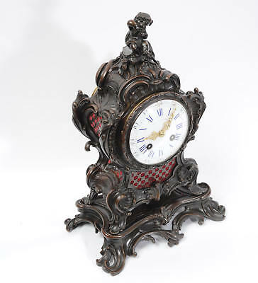 Japy Freres Antique French Bronze Rococo Table Clock Music Fully Working C1890 9