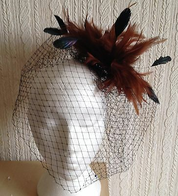 brown feather black veiling fascinator millinery hair clip ascot wedding bridal 2