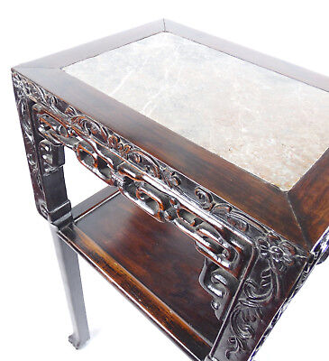 Chinese Hardwood Incense Table Marble Inset Qing Dynasty 19th C 11