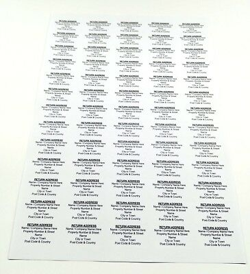Personalised Printed Sticky Address Labels Stickers White Gold Silver A4 Sheets 8
