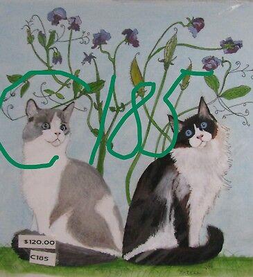 "C74  Original Acrylic Painting By Ljh   ""Minnie""   Cat 9"