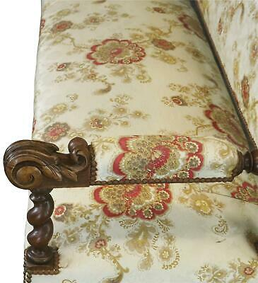 Settee Renaissance Hunting French Antique 1880 Carved Oak  Floral Uph 10