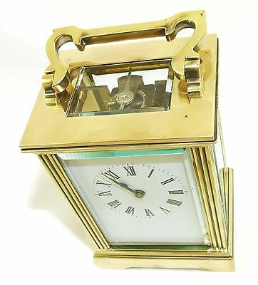 French Brass Carriage Clock with Bevelled Glass & Winding Key WORKING 8