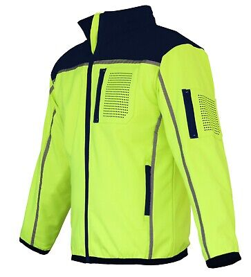 HI VIS Safety Jacket Soft Shell Windproof Work Wear Reflective bomber flying 4