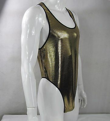 K128 F Mens Shiny bodysuit Thong Leotard High Cut bottom Metallic Coated Checks