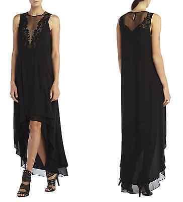 3955bad510e41 ... New 398 Bcbg Maxazria Dress Long Gown Black Cassidy Lace Hi Low 0 2 4 6