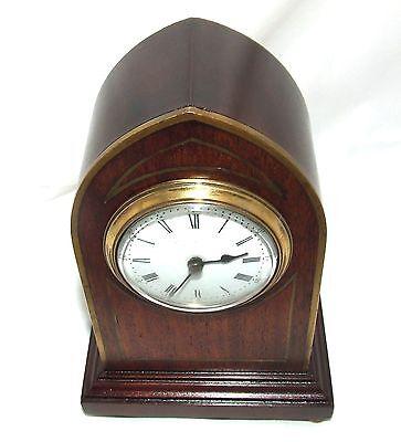 Antique Brass Inlaid Mahogany Miniature Bracket Mantel Clock CLEANED & SERVICED 9
