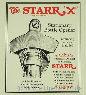 TAKE YOUR TOP OFF Starr X Wall Mount Bottle Opener Zinc Plated Cast Iron New!! 4