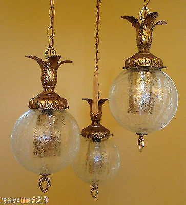 Vintage Lighting 1960s Hollywood Regency tri-globe chandelier   Extraordinary 5
