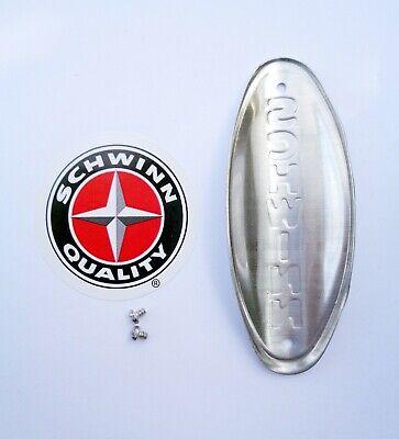Genuine Schwinn Approved Bicycle Head Badge/Name Plate * WHITE w/ BLACK LETTERS 2