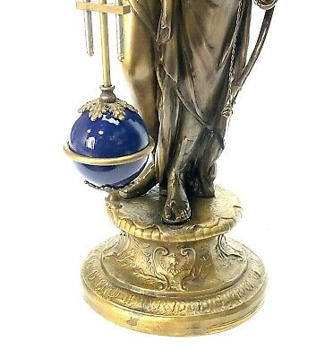"Large Mystery Brass Lady Diana 8 Day 4"" Cobalt Blue Ball Swinging Clock 6"