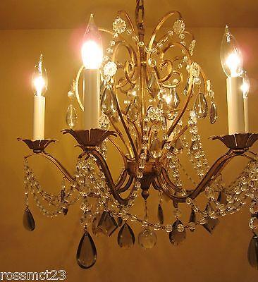 Vintage Lighting antique 1960s Lightolier crystal chandelier   Stunning 6