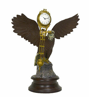 Large Brass American Eagle German Style 8 Day Swinger Movement Swinging Clock 4