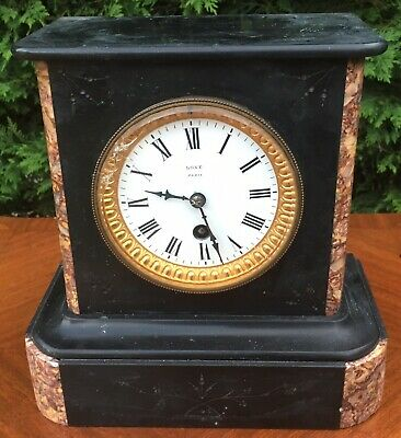 antique Marble Slate Mantel Mantle Clock French Paris Love 2