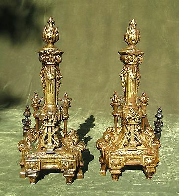 Antique Pair French Empire Style Brass Andirons Chenets 4