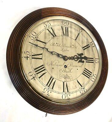 National Provincial Bank CHAIN Fusee Mahogany Wall Clock SIR JOHN BENNETT LONDON 3